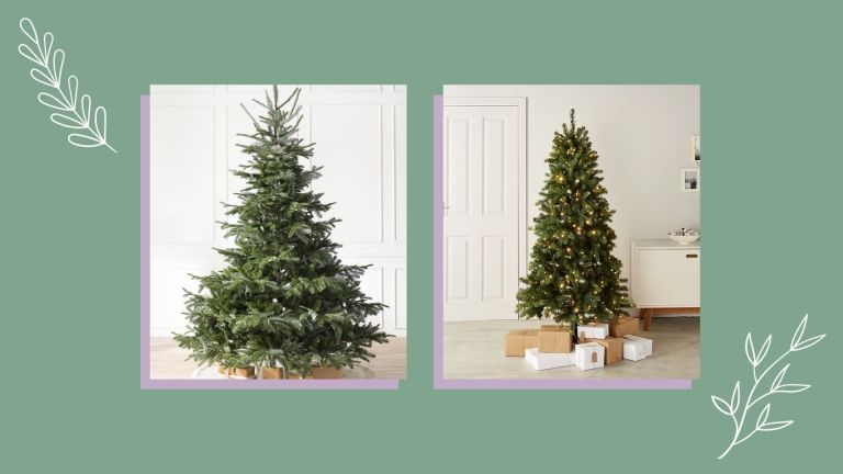 a collage image showing a selection of some of the best artificial christmas trees