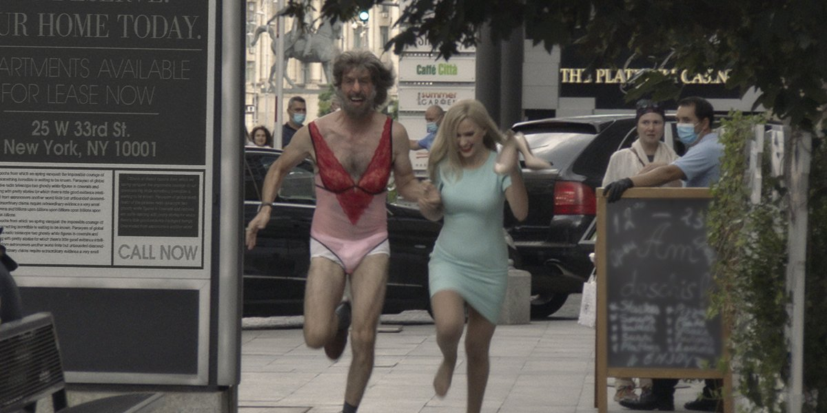 Sacha Baron Cohen and Maria Bakalova in Borat Subsequent Moviefilm after the Rudy Giuliani interview