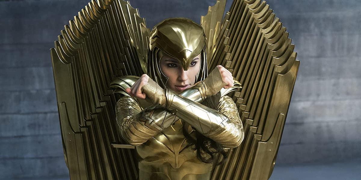 Gal Gadot in golden armor suit in Wonder Woman 1984