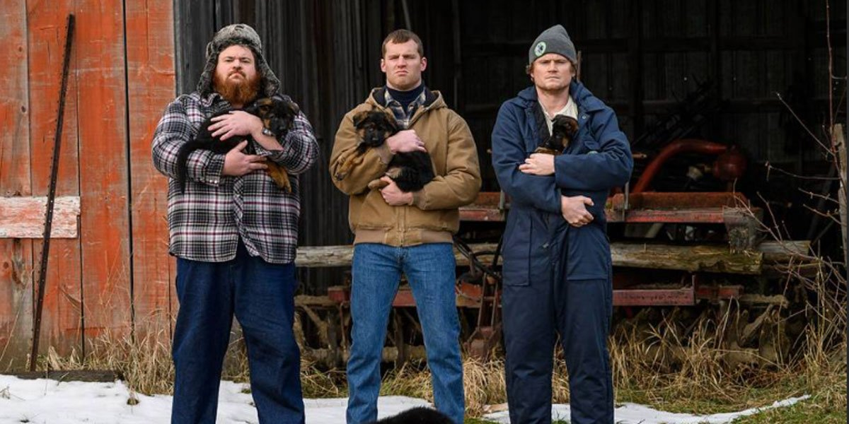 Dan, Daryl and Wayne with puppies on Letterkenny Season 9