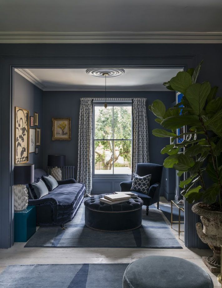 Moody And Dramatic Dark Blue Living Room Ideas And Paint