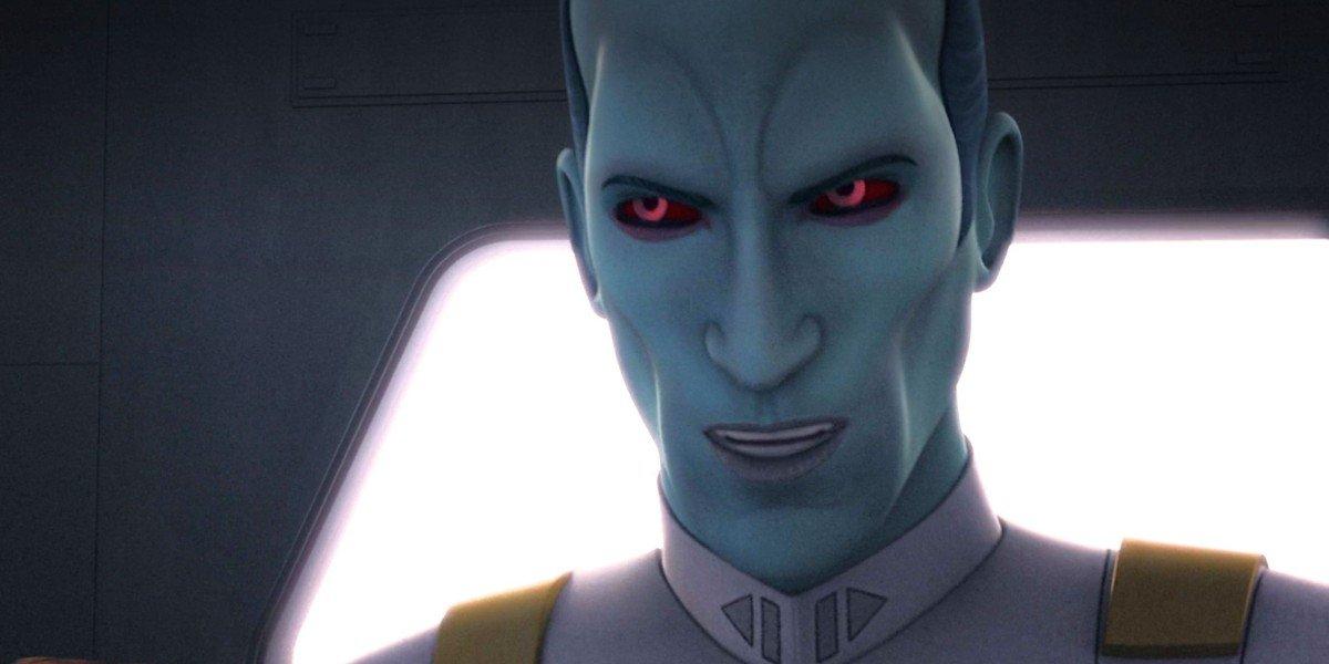 Thrawn doing an evil smile Star Wars Rebels