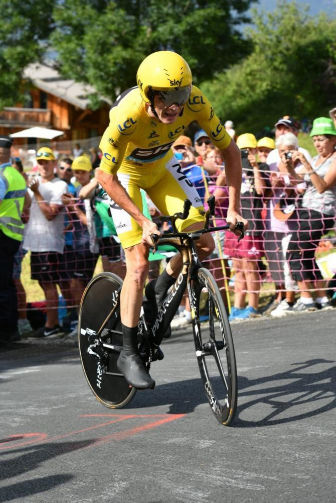 Chris Froome (Sky) used a full TT rig for the mountain test