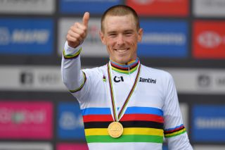 Australia's Rohan Dennis is all smiles after taking his second individual time trial title in as many years at the 2019 UCI Road World Championships