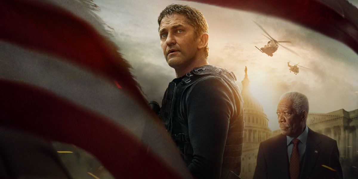 Angel Has Fallen Gerard Butler and Morgan Freeman stand in a very bright Washington DC.