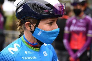 At the start of the first-ever Paris-Roubaix Femmes, which didn't end as planned for Annemiek van Vleuten (Movistar)
