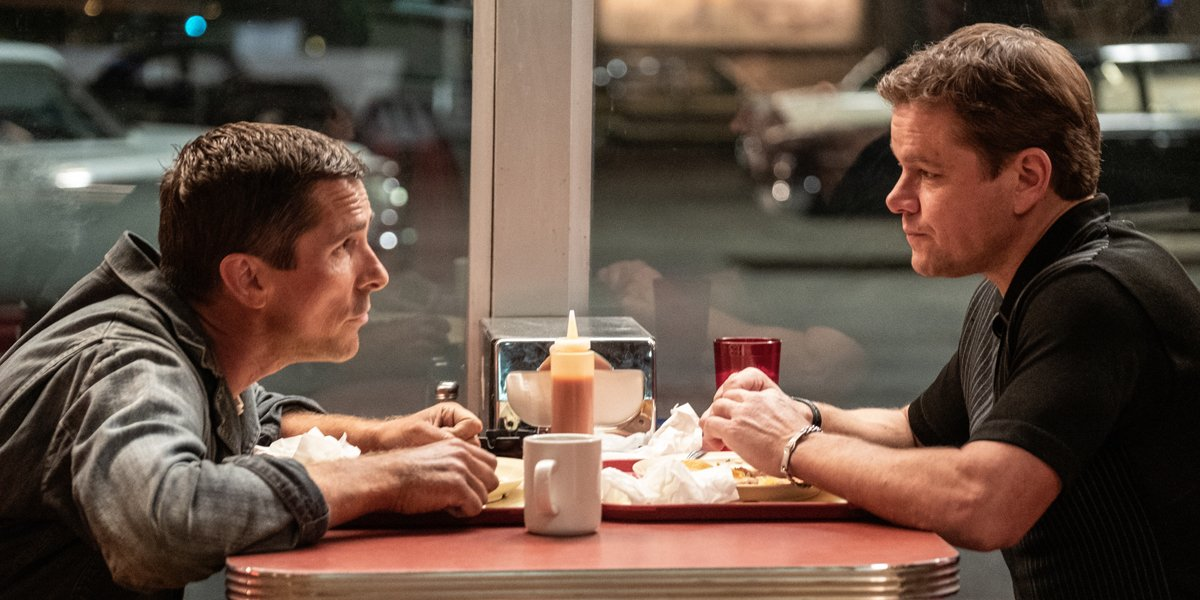 Damon and Bale talk at a diner in Ford v Ferrari