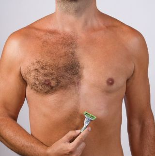 Man with half-shaved chest