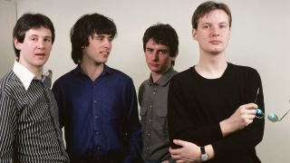 A portrait of XTC L-R: Dave Gregory, Colin Moulding, Terry Chambers, Andy Partridge