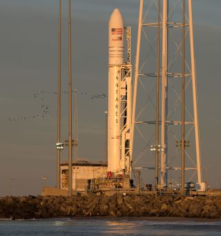 A Northrop Grumman Antares rocket with a Cygnus spacecraft, as seen at sunrise on April 16, 2019, at NASA's Wallops Flight Facility in Virginia.