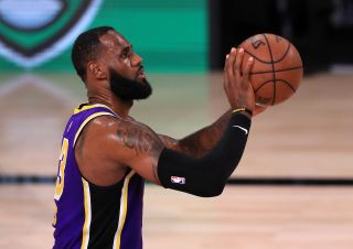 LeBron James, #23 of the Los Angeles Lakers, shoots the ball during the third quarter against the Houston Rockets in Game One of the Western Conference Second Round during the 2020 NBA Playoffs at AdventHealth Arena at the ESPN Wide World of Sports Complex on Sept. 4, 2020 in Lake Buena Vista, Florida.