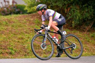 Road race world champion Annemiek van Vleuten of the Netherlands en route to winning the 2020 European Championships road race in Plouay, France
