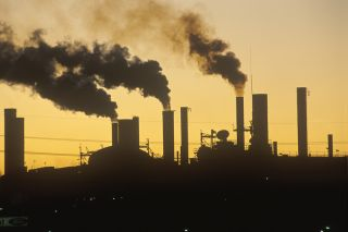 A factory at sunset in Cleveland, Ohio