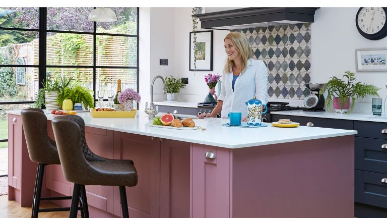 With a colourful twist on a modern design, Lucy Kirwan has created a party-ready kitchen to be proud of