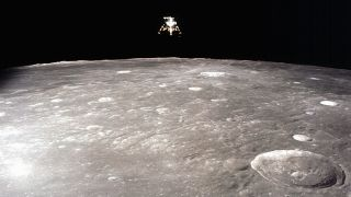 This view of the Apollo 12 lunar module was captured from lunar orbit by command module pilot Richard Gordon shortly after the two modules separated to prepare for the lunar landing.