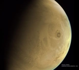 An image of Mars captured by the Hope spacecraft on Feb. 26, 2021, shows Olympus Mons, the largest volcano in the solar system.