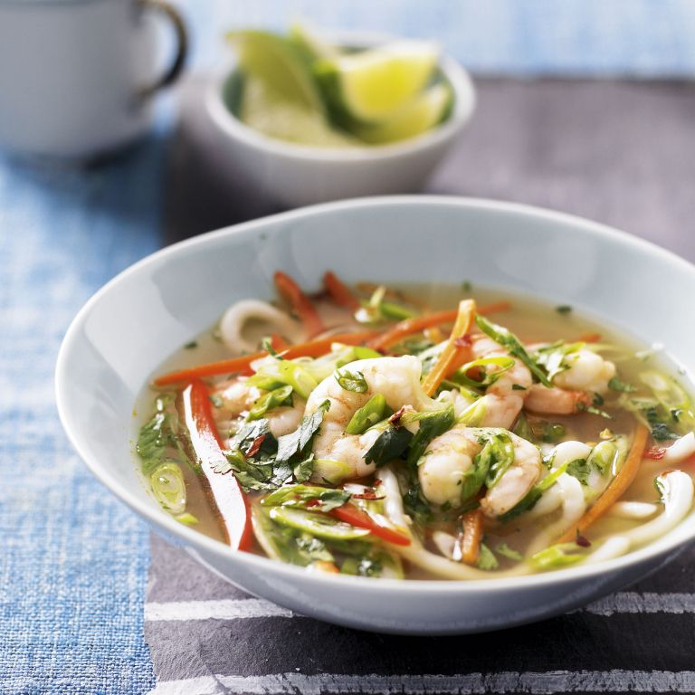 Healthy prawn noodle bowl-woman and home