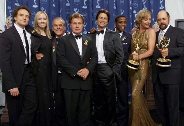 West Wing stars Bradley Whitford, Janel Moloney, John Spencer, Martin Sheen, Rob Lowe, Dule Hill, Allison Janney and Richard Schiff