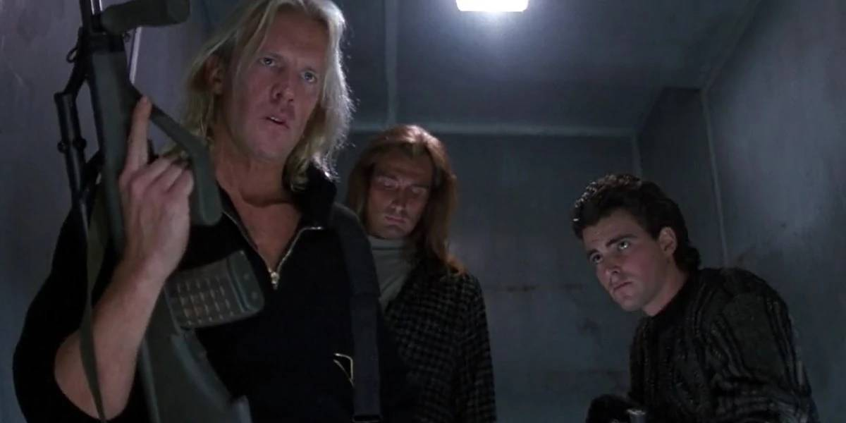 Alexander Godunov, Hans Buhringer, and Bruno Doyon in Die Hard