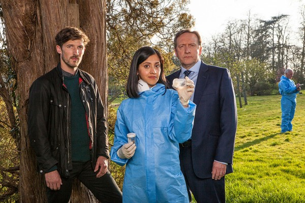 Gwilym Lee as DS Charlie Nelson, Manjinder Virk as Dr Kam Karimore, Neil Dudgeon as DCI John Barnaby, as Midsomer Murders  (Mark Bourdillon/ITV)