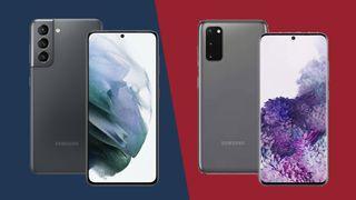 Samsung Galaxy S21 (vasemmalla) ja Galaxy S20 (oikealla)