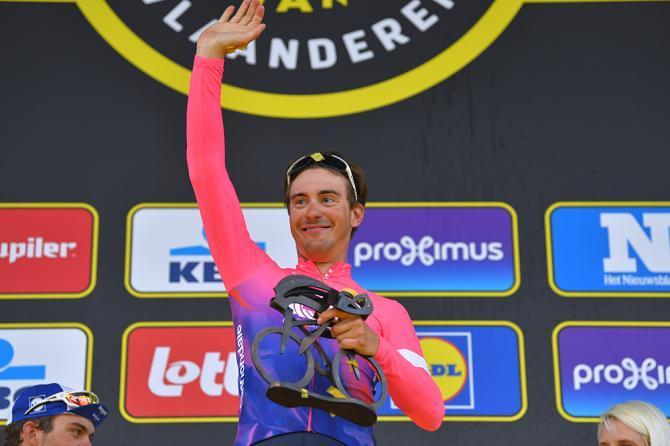 Alberto Bettiol (EF Education First) celebrates winning Tour of Flanders