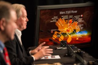 Michael Meyer, lead scientist for NASA's Mars Exploration Program, discusses the science instruments that will ride on the agency's next huge rover on the Mars 2020 mission during a press conference on July 31, 2014 at NASA headquarters in Washington.