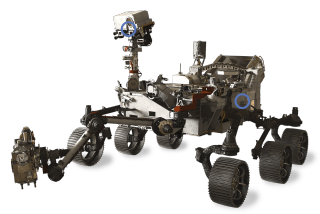 A diagram of NASA's Perseverance rover shows the locations of its two microphones.