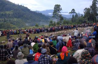 Crowd gathered at a compensation ceremony to distribute folded sides of pork to the clan and relatives of the victim.