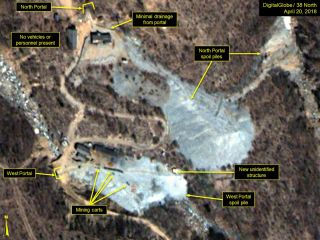 "A train of mining carts and new structure are seen at the West Portal spoil pile within the Punggye-ri Nuclear Test Site in North Korea on April 20, 2018. The testing site sits on Mount Mantap, which seems to have ""tired mountain syndrome."""