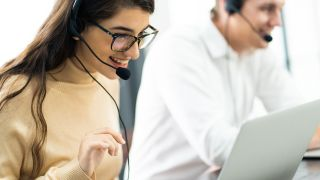 woman using a voip headset