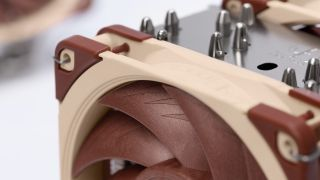 Noctua cooler close-up with brown fans