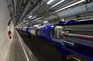Inside the Large Hadron Collider, proton beams are sent at near the speed of light in opposite directions.