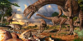 This is an artist's interpretation, showing 190 million year old nests, eggs, hatchlings and adults of the prosauropod dinosaur Massospondylus in Golden Gate Highlands National Park, South Africa.