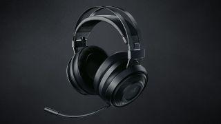 Razer Nari Essential gaming headset on a black background