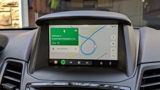 An image showing a car dashboard running Android Auto
