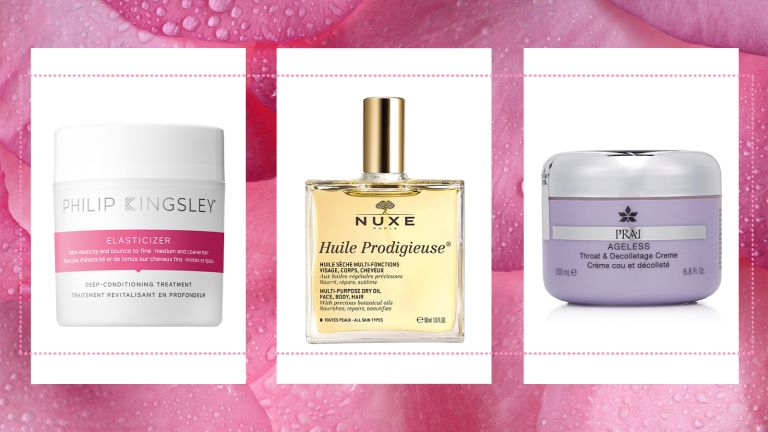 three picks from our M&S beauty edit on a floral pink background