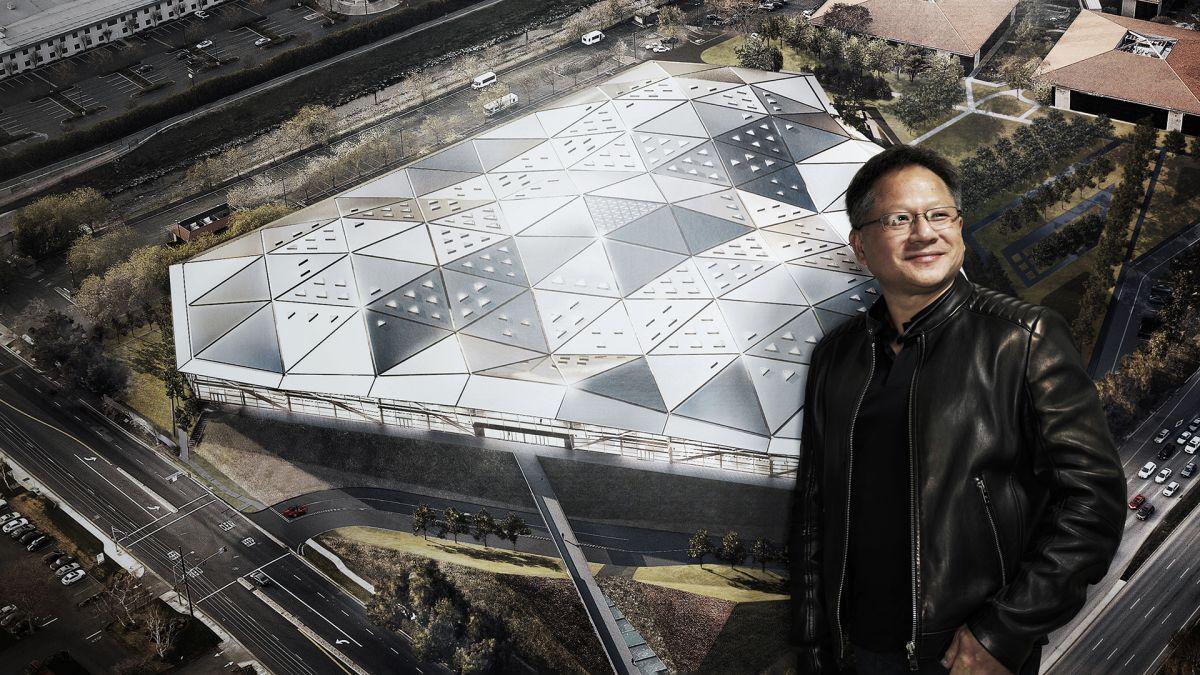 SufZroiuxNQE6ZLWoVZCC4 1200 80 Nvidia confirms $40 billion ARM acquisition Nvidia CEO Jen-Hsun Huang in front of a render of Nvidia's Santa Clara HQ