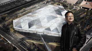 Nvidia CEO Jen-Hsun Huang in front of a render of Nvidia's Santa Clara HQ