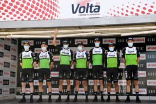 CALELLA SPAIN MARCH 22 Start Podium Roman Mart Mrquez of Spain Jaime Castrillo Zapater of Spain Kiko Galvn Fernndez of Spain Urko Berrade Fernandez of Spain Savva Novikov of Russia Daniel Alejandro Mendez Norea of Colombia Roger Adri Oliveras of Spain and Team Equipo Kern Pharma during the 100th Volta Ciclista a Catalunya 2021 Stage 1 a 1784km stage from Calella to Calella Mask Covid safety measures Team Presentation VoltaCatalunya100 on March 22 2021 in Calella Spain Photo by David RamosGetty Images