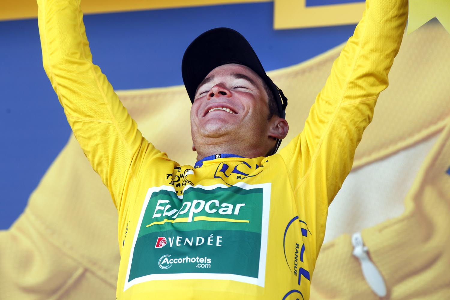 Thomas Voeckler on podium, Tour de France 2011, stage nine