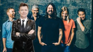 A press shot of the Foo Fighters with Rick Astley photoshopped in to it