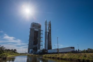 A United Launch Alliance Atlas V rocket carrying the new SBIRS GEO Fight 4 missile- warning satellite stands atop Space Launch Complex 41 at Cape Canaveral Air Force Station in Florida ahead of a scheduled Jan. 18, 2018, launch.
