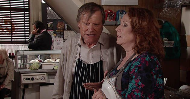 Roy Cropper takes Cathy Matthews by surprise when he suggests they set a date for their wedding in Coronation Street.