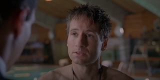 David Duchovny wears a red Speedo on The Chair.