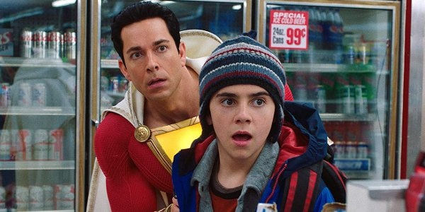 Shazam! and Freddie gawking at a convenience store robbery in progress
