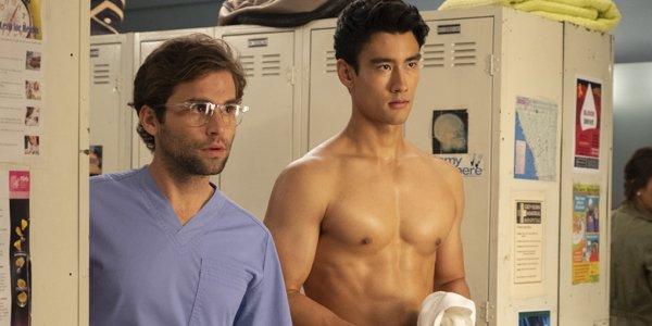 Grey's Anatomy Season 15 Jake Borelli Levi Schmitt Glasses Alex Landi shirtless Nico Kim ABC