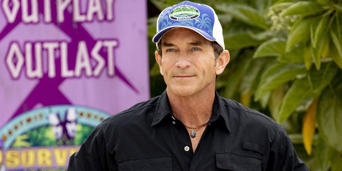Host Jeff Probst blue hat Survivor: Island of the Idols CBS