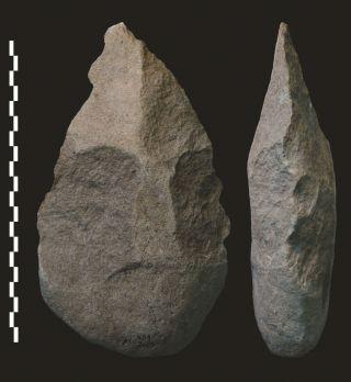 acheulian hand axe, human tool use, tool development, homo erectus, ancient hominids, acheulian, acheulean, homo habilis