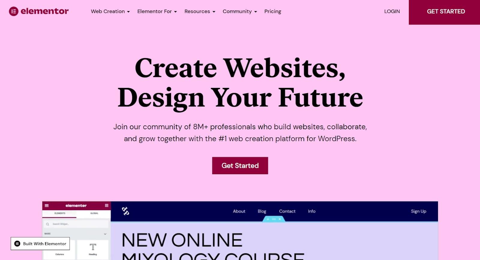 Elementor's homepage